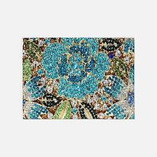 bohemian floral turquoise rhineston 5'x7'Area Rug