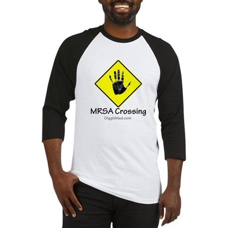 MRSA Crossing Sign 02 Baseball Jersey