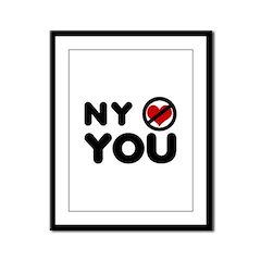 NY No Love Framed Panel Print