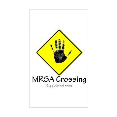 MRSA Crossing Sign 02 Rectangle Sticker