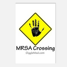 MRSA Crossing Sign 02 Postcards (Package of 8)