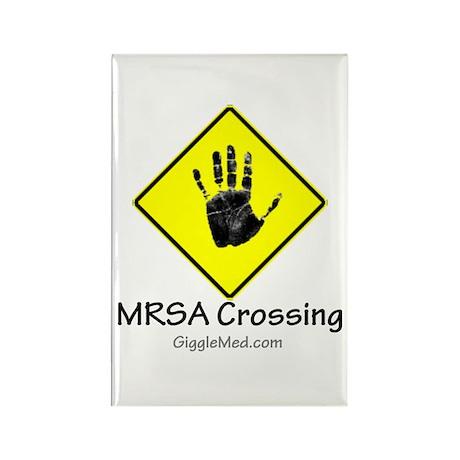 MRSA Crossing Sign 02 Rectangle Magnet (100 pack)