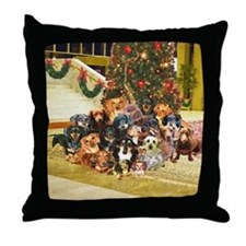 A Dachshund Family Christmas Throw Pillow
