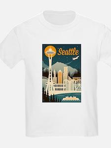 Seattle, Washington - Retro Skyline - Lantern Pres