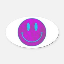 Happy FACE Turq EYES Oval Car Magnet