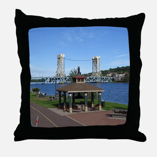 Portage Lake Bridge Throw Pillow