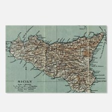 Cute Map of sicily Postcards (Package of 8)