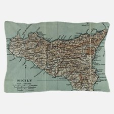 Cute Map of sicily Pillow Case