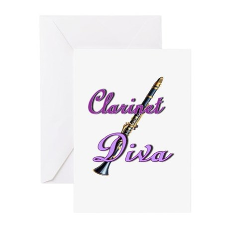 Clarinet Diva Greeting Cards (Pk of 10)