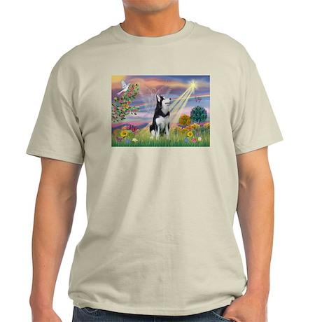 Cloud Angel & Siberian Husky Ash Grey T-Shirt