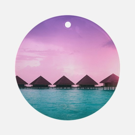 Ocean Bungalows Round Ornament