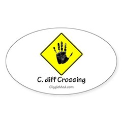 C. diff Crossing Sign 02 Oval Decal