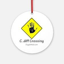 C. diff Crossing Sign 02 Ornament (Round)