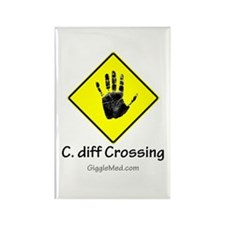 C. diff Crossing Sign 02 Rectangle Magnet