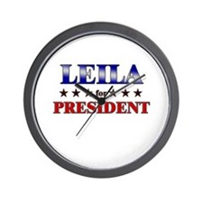 LEILA for president Wall Clock