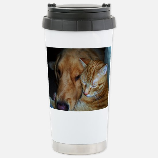 Cute Cat and dog cuddling Travel Mug