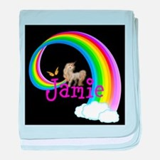 Unicorn rainbow personalize baby blanket