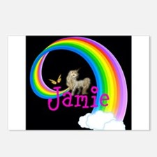 Unicorn rainbow personalize Postcards (Package of