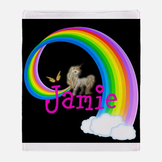 Unicorn rainbow personalize Throw Blanket