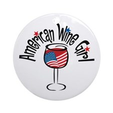 American Wine Girl Ornament (Round)