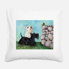 Scotties and Wren Square Canvas Pillow