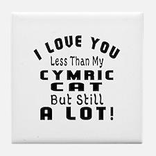 I Love You Less Than My Cymric Cat Tile Coaster