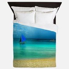 Beach Scene Photo 4 Queen Duvet
