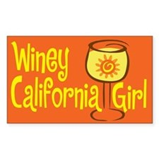 Winey California Girl Rectangle Decal