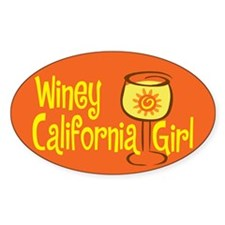 Winey California Girl Oval Decal