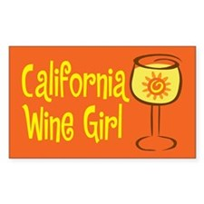 California Wine Girl Rectangle Decal