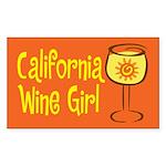 California Wine Girl Rectangle Sticker