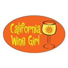 California Wine Girl Oval Decal