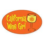 California Wine Girl Oval Sticker