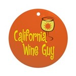 California Wine Guy Ornament (Round)