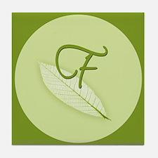 Leaves Monogram F Tile Coaster