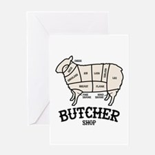 Butcher Lamb Greeting Cards