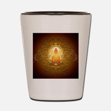 Buddha silhouette with floral elements Shot Glass