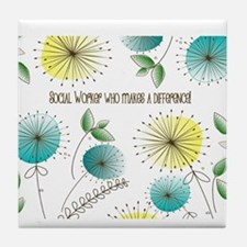 Social Worker Floral Art Tile Coaster