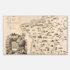 Funny French map Sticker (Rectangle)