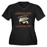 Chocolate Layer It Women's Plus Size V-Neck Dark T