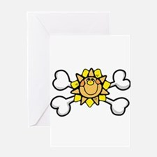 Happy Sun Crossbones Design Greeting Card
