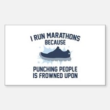 I Run Marathons Sticker (Rectangle)