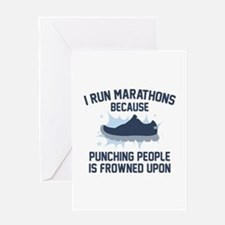 I Run Marathons Greeting Card