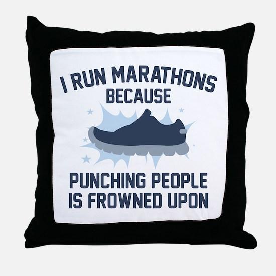 I Run Marathons Throw Pillow