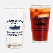 I Run Marathons Drinking Glass