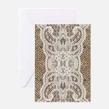 country rustic burlap lace Greeting Cards