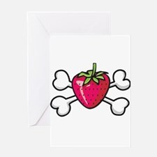Strawberry Crossbones Design Greeting Card