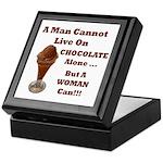 Man Cannot Live On Chocolate Tile Box