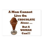 Man Cannot Live On Chocolate Postcards (Package o