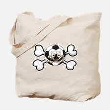 Angry Soccer Ball Crossbones Tote Bag
